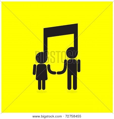 Creative Music Note Sign And Silhouette People