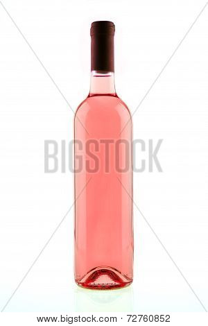 Bottle Of Pink Rose Wine Isolated