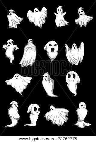 White Halloween ghosts