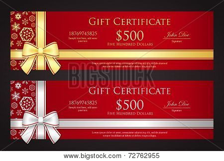Luxury Christmas Gift Certificate With Golden Or Silver Ribbon And Snowflakes