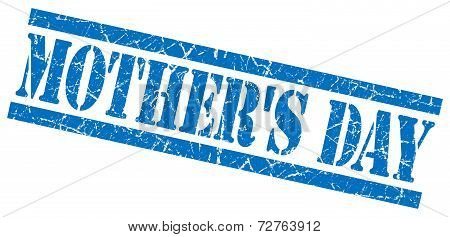 Mothers Day Blue Grungy Stamp On White Background