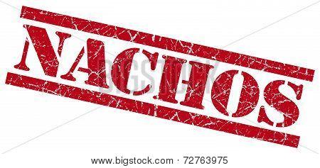 Nachos Red Grungy Stamp On White Background