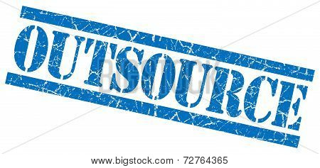 Outsource Blue Grungy Stamp On White Background