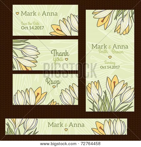 Fashionable wedding invitation card template with floral spring