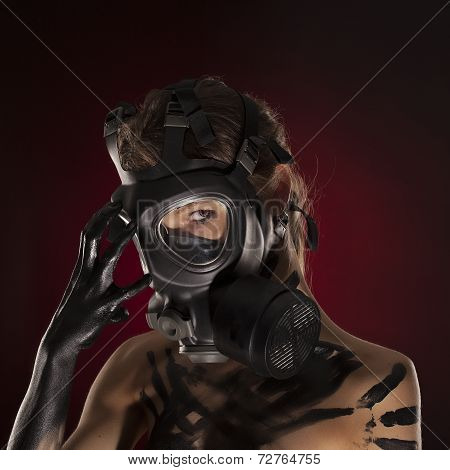 Sexy Woman Wearing A Ammo Gas Mask