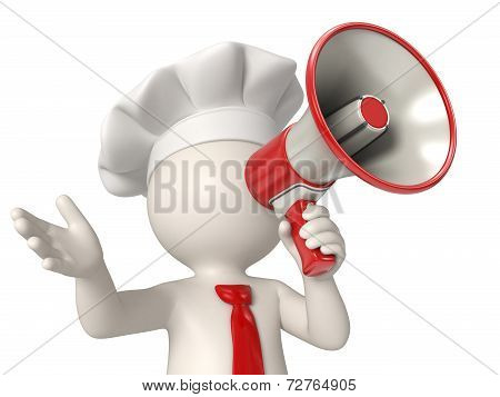 3D Chef Speaking In Megaphone