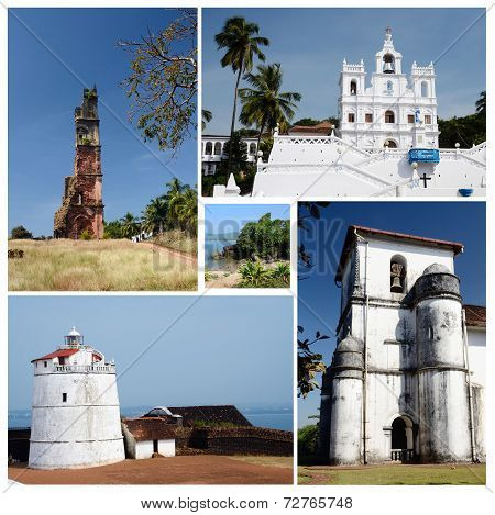 Collage Of North And South Goa State Popular Travel Destinations,india  - Panaji,old Goa, Candolim
