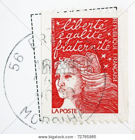 France - Circa 2000: A Stamp Printed In France