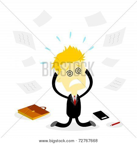 Stressed Bussiness Man Holding Head
