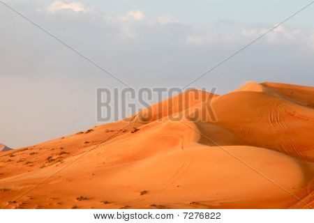 Sand Hills With Automobile Tracks