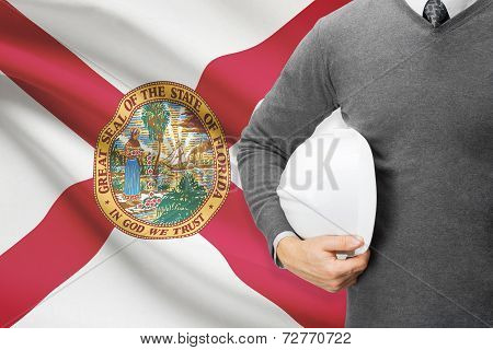 Engineer With Flag On Background Series - Florida
