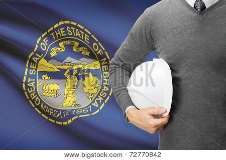 Engineer With Flag On Background Series - Nebraska