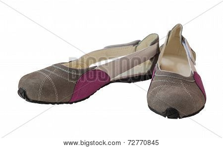 A Pair Of Suede Women's Shoes Low-heeled Shoes