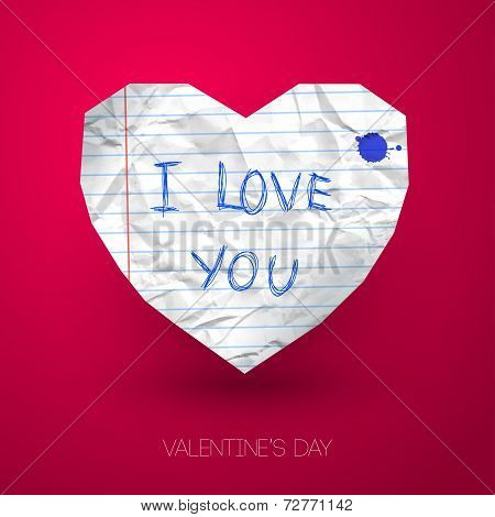 Paper heart with handwritten message on pink backdrop with shado