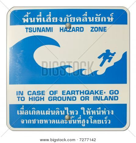 Tsunami Hazard Zone Warning Sign