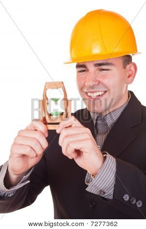 Young Engineer With Hourglass