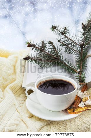 Holiday Christmas Still Ilife With Cup Of Coffe