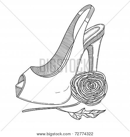 Stylish shoe with flower. Vector illustration.