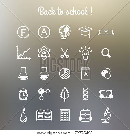 School and Education Icons. Vector illustration.