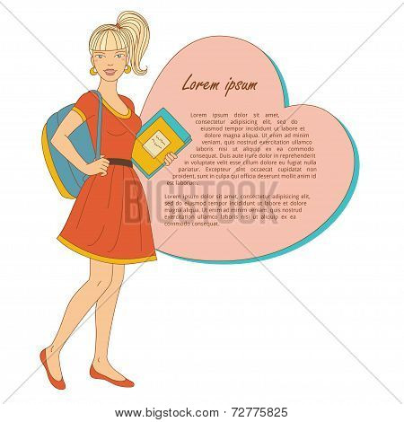 Young beautiful woman with books and bag.