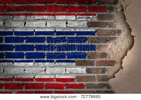 Dark Brick Wall With Plaster - Thailand