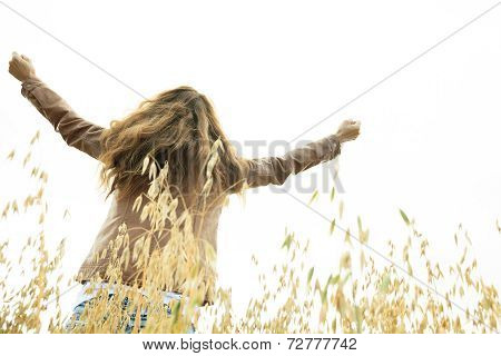 Woman on wheat Liberty