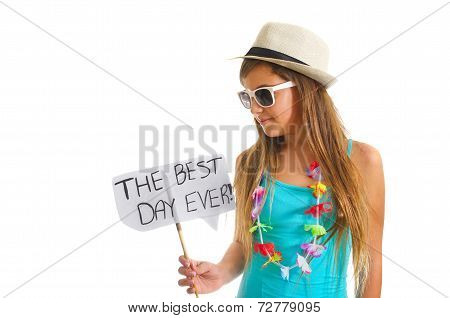 Teanager Girl Holding A Best Day Sign
