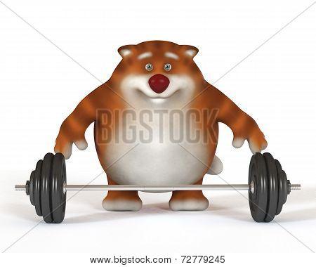 3D Cat Weightlifter