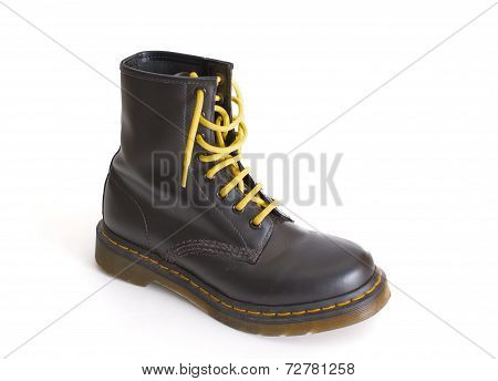 Classic Black Lace-up Boot With Yellow Laces