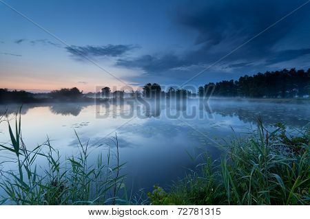 Misty Sunrise On River In Summer