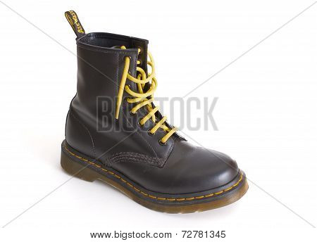 Classic Black Dr. Martens Lace-up Boot With Yellow Laces