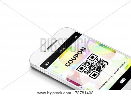 Mobile Phone With Discount Coupon Isolated Over White
