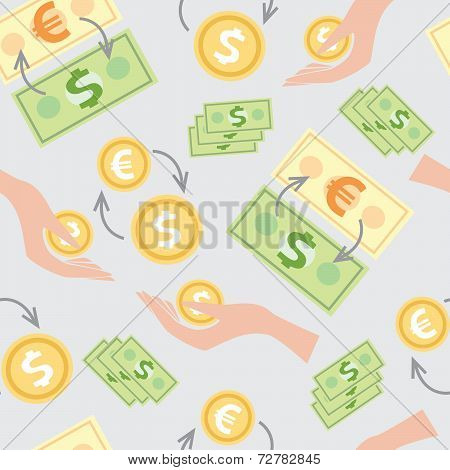 Seamless Pattern With The Image Of Wages, Money