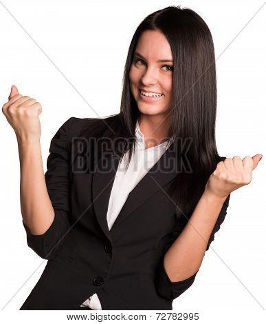 Beautiful businesswomen happily raised his hands up