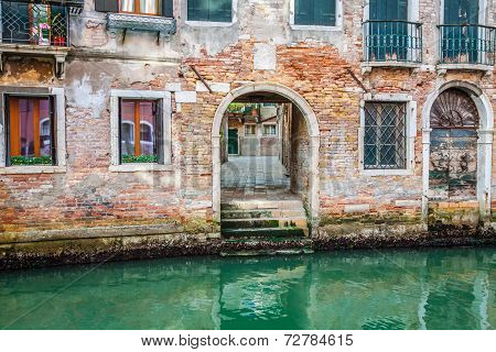 Venetian Buildings And Boats Along Canal Grande, Venice, Italy