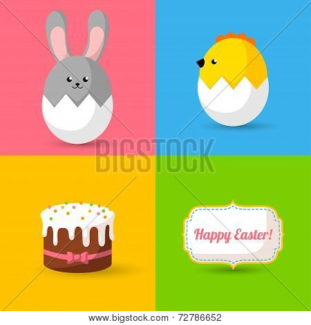 Happy Easter cards illustration with eggs, bunny, chick, cake.