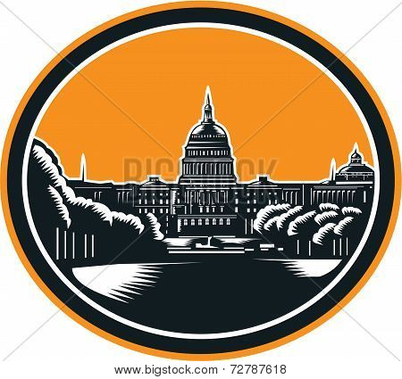 United States Capitol Building Woodcut Retro