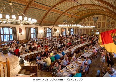 Interior Of Famous Hofbrauhaus - Munich, Germany