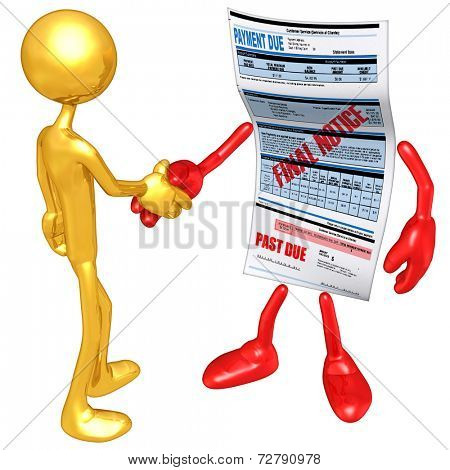 Gold Guy Past Due Bill Handshake