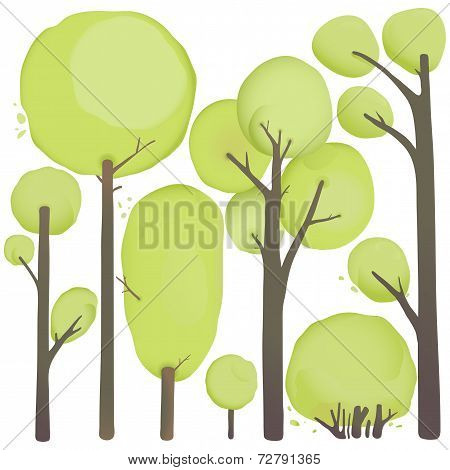 Cartoon Watercolor Trees Set