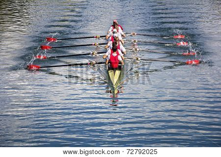 Eight Men Rowing
