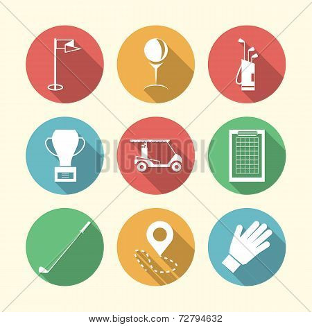 Flat colored vector icons for golf accessories
