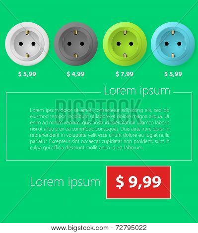 Flat minimalist vector template business design. Sockets.