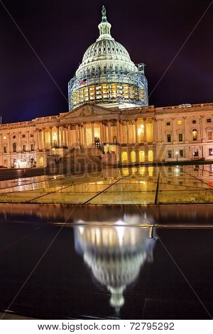 Us Capitol Dome North Side Construction Night Stars Washington Dc Reflection