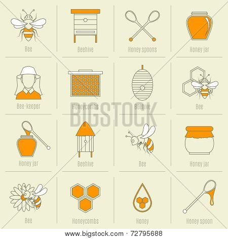 Bee honey icons flat line set
