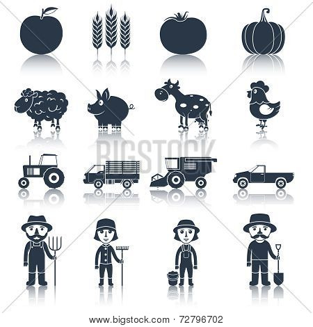 Farm icons set black