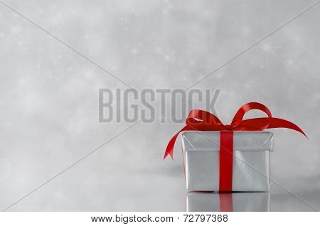 Silver Gift - Red Ribbon