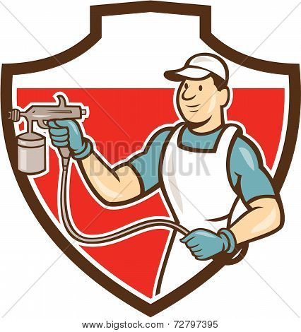 Painter Spray Gun Spraying Shield Cartoon