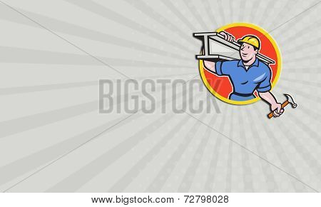 Business Card Construction Steel Worker Carry I-beam Circle Cartoon