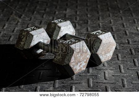 Dumbells sitting on the floor